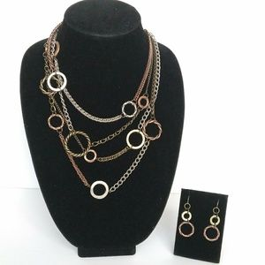 Tri-Metal Necklace and Earrings Set